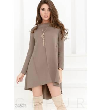Трикотажное платье-клеш (песочный)