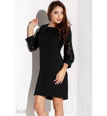 Платье рукава-фонарики (черный)