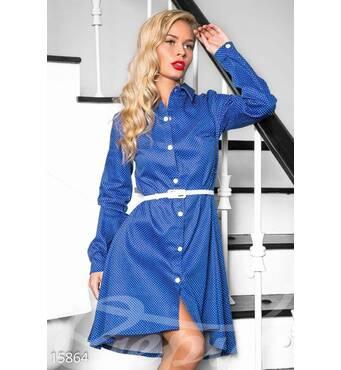 Платье в горошек (синий, горох - белый)