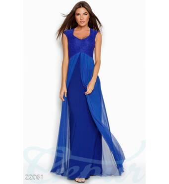 Вечернее платье-сетка (электрик)
