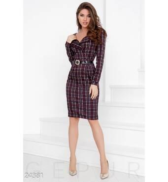 Трикотажное платье-шотландка (мультиколор)