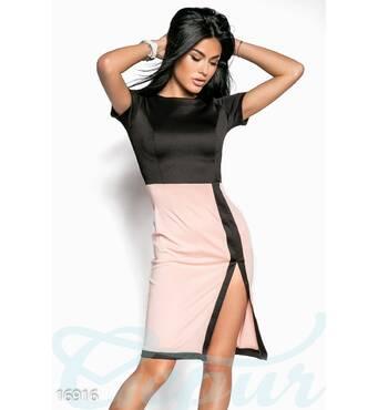 Сдержанное комбинированное платье (черный, пудрово-розовый)