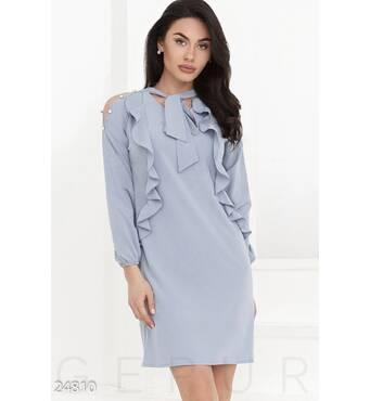 Легкое платье воланы (светло-синий)