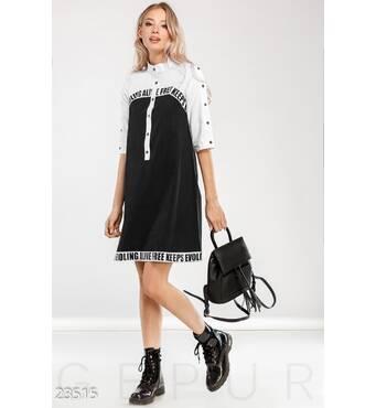 Удобное платье-рубашка (черно-белый)