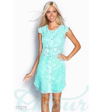 Шифоновое платье-рубашка (ментол)