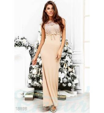 Вечернее платье бантик (бежевый)