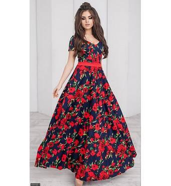 Платье 438422-1 темно-синий Лето 2018 Украина
