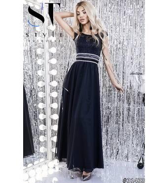 Платье в пол 31433 (тёмно - синий)