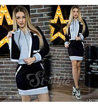 Костюм Moschino юбка   кофта с капюшоном 20758 (черный/серый)