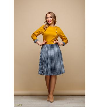 Женское платье большого размера Текуса горчичный принт низ зигзаг