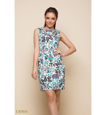 Женское платье 14966 белый принт зеленые цветы