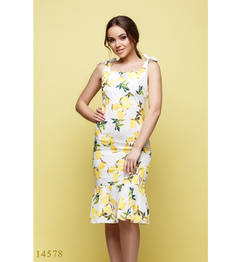 Женское летнее платье Люс молочный принт