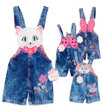 Комбінезон джинсовий для дівчинки сонечко оптом на 1-4 роки