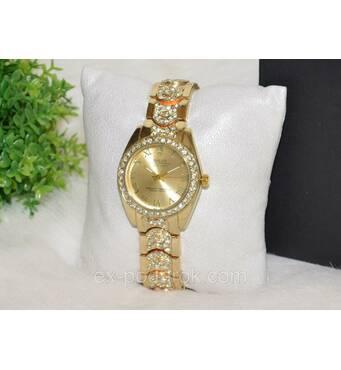 Жіночий годинник Ролекс із стразами золотистий.