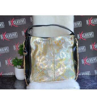 Жіноча сумка з натуральної шкіри чорна із золотим принтом рептилія.