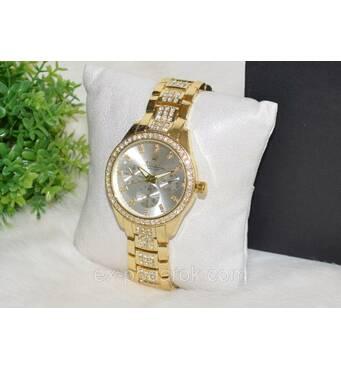 Жіночий годинник Ролекс (Rolex) стрази золоті з сріблястим циферблатом .