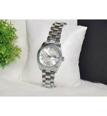 Жіночий годинник Ролекс ( Rolex ) сріблястий з датою.