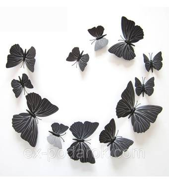 Метелики для декору 12 штук. МАГНІТ ЛИПУЧКА.