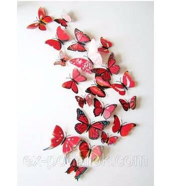 3d метеликів для прикраси червоні.