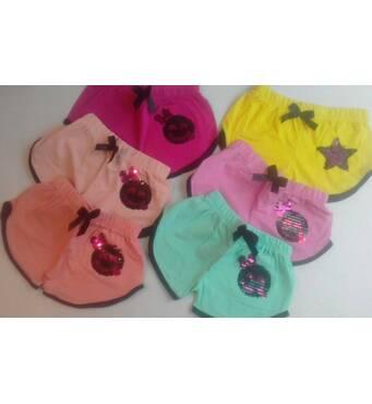 Дитячі шорти для дівчинки оптом 5-8 років персик