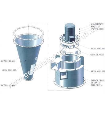 Пневмосистема (система циклонов) подачи сырья, отвода крошки и аспирации линии гранулирования ОГМ-1,5 (НОВАЯ)