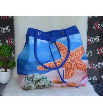 Жіноча синя пляжна сумка-торба.