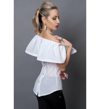 Молодіжна біла блуза з гудзиками на спині