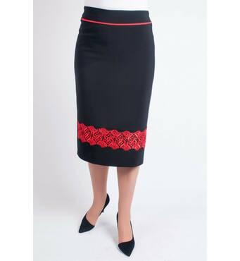 """Женская юбка  """"Орися"""" размер 48-60 с красным кружевом"""