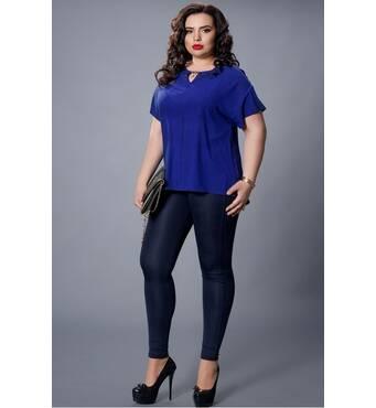 Однотонна синя шифонова блуза великий розмір