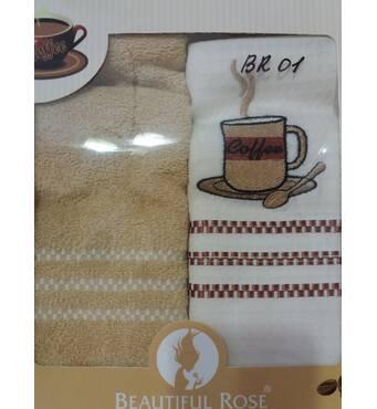 "Кухонный набор полотенец BEAUTIFUL ROSE ""Кофе"" (2 шт.) 50х70"