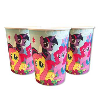 """Скляночки одноразові святкові дитячі """" Маленькі Поні """" 10 шт./уп. Посуд одноразовий дитячий"""