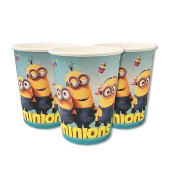 """Скляночки одноразові святкові дитячі """" Миньоны """" 10 шт./уп. Посуд одноразовий дитячий"""