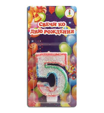 "Свічка цифра для торта веселка ""5"""