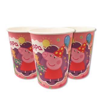 """Скляночки одноразові святкові дитячі """" Свинка Пеппа """" 10 шт./уп. Посуд одноразовий дитячий"""