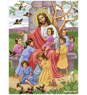 """Схема для вишивки картини бісером """"Ісус благословляє дітей"""""""