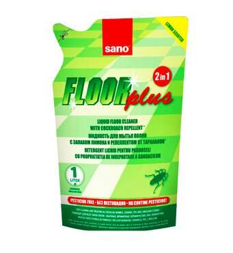Рідина для миття підлог Sano Floor Plus 2 в 1 з лимонним запахом для відлякування тарганів (екопак), 750 мл