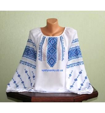 Женская вышитая рубашка с голубым узором. Ручная работа.