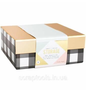Коробочка для хранения с магнитной крышкой Magnetic Box Small Black/White Stripes