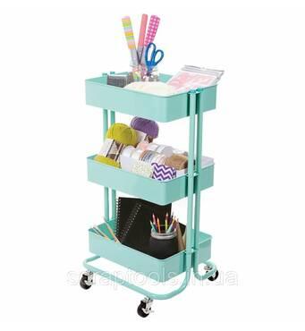 Металлическая тележка для хранения на колесиках цвет мятный - Mint