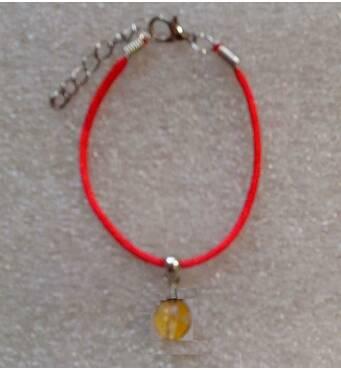 Червона нитка оберіг натуральний камінь Цитрин 10 мм