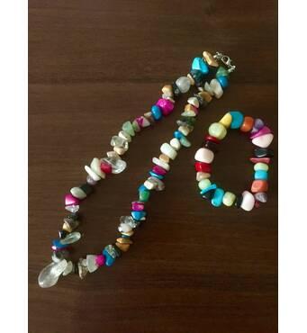 Бусы с кулоном и браслет из натуральных камней