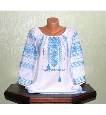 вышиванка женская с голубым узором. ручная работа.