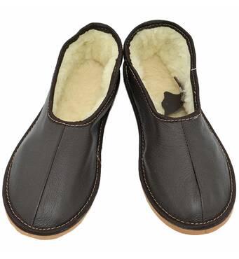 Мужские меховые тапочки, темно коричневые