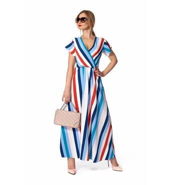 Жіноче довге плаття в смужку 001135
