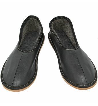 Мужские меховые тапочки, черные