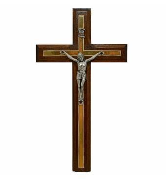 Резной крест 02, орех, серебро