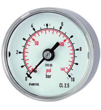 Pressure gauges, CrNi steel, standard type, connection on rear, centrical - K-MANO STAND H