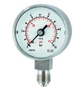 Pressure gauges, CrNi steel, standard type, connection radial on bottom - K-MANO STAND U