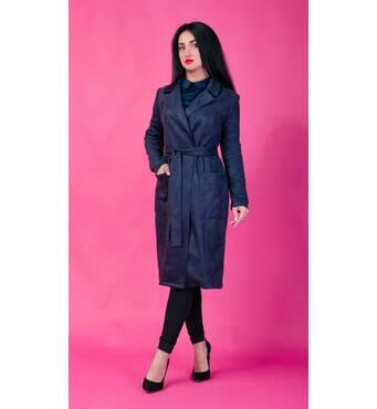 Женское замшевое длинное пальто, 257