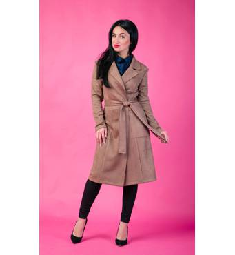 Жіноче замшеве довге пальто, 257